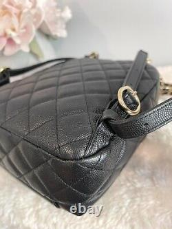 1000 % Auth Chanel Black Caviar CC Day Backpack Gold Hw Small Classic Bag