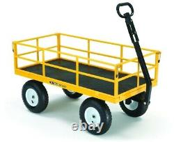 1,200 lbs. Utility Yard Cart Heavy Duty Steel with 2-in-1 Convertible Handle