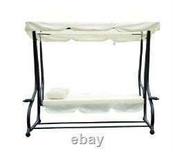 3 Seat Swing Hammock Bed Heavy Duty Garden Bench Patio Cream 2 in 1 Convertible