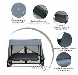 3 Seat Swing Hammock Bed Heavy Duty Garden Bench Patio Grey With Mesh Wall 2-in-1