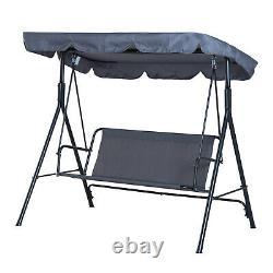 3 Seater Garden Swing Seat Bench Chair Hammock Canopy Brown Heavy Duty New UK