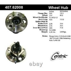 407.62008 Centric Wheel Hub Rear Driver or Passenger Side New for Chevy Olds
