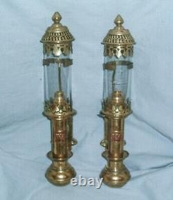 A Pair Of Brass G. W. R. Heavy Duty Carriage Lamps Converted To Electric