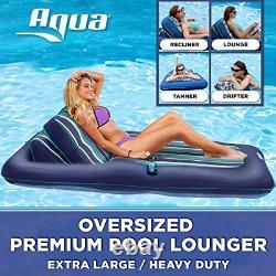 Aqua Premium Convertible Pool Lounger, Inflatable Pool Float, Heavy Duty, 74