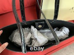 Aspinal of London Black Croc Leather Large Regent Tote Bag RRP £425.00 +Gift bag