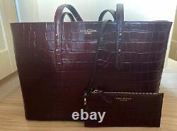 Aspinal of London Bordeaux Croc Leather Large Regent Tote Bag RRP £425.00