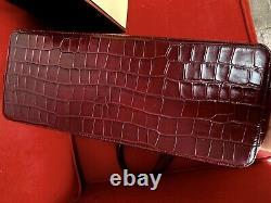 Aspinal of London Zipped Regent Tote Deep Shine Bordeaux Croc RRP £375 +Gift bag