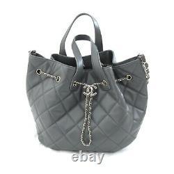 Auth Chanel 2020 Gray CC Lambskin Dweller Drawstring Bucket Tote Bag