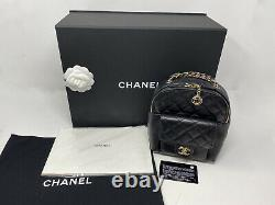 Authentic New Chanel Black Quilted Caviar CC Day Backpack Gold Small As0004