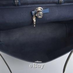 Authentic hermes leather And Canvas Herbag handbag Navy Blue