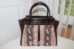 Brahmin Priscilla Satchel Pink Ellora tote leather Handbag Shoulder Bag NEW
