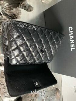 CHANEL So Black Mini Coco Handle Small Classic Flap Calf New Caviar NWT 2020 20A