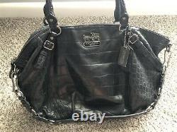 Coach Exotic Madison Sophia Embossed Leather Convertible Satchel Purse Bag 15954