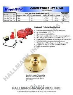 Convertible Deep Well Jet Pump, 1/2HP 115/230V, max 49' heavy duty cast iron