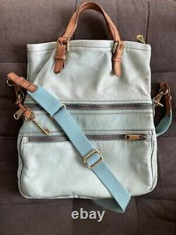 FOSSIL Explorer Leather Foldover Crossbody Convertible Messenger Bag Mint Aqua