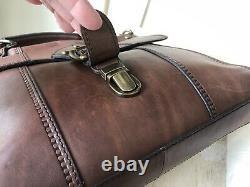 FOSSIL Vintage Revival Satchel BROWN Leather Satchel Crossbody Messenger Handbag