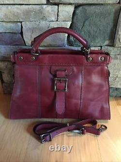 FOSSIL Vintage Revival Satchel RED Leather Satchel Crossbody Messenger Handbag