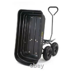 Gorilla Carts GOR4PS Heavy Duty Poly Yard Dump Cart with 2-In-1 Convertible Pull