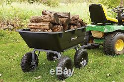 Gorilla Carts GOR6PS Heavy-Duty Poly Yard Dump Cart with 2-In-1 Convertible Pull