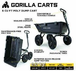 Gorilla Carts Heavy-Duty Poly Yard Dump Cart 2-in-1 Convertible Handle 1200