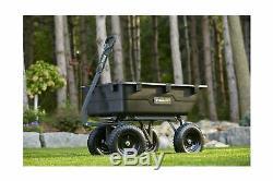 Gorilla GOR6PS Heavy Duty Poly Yard Dump Cart Convertible Handle Black 1200 Lbs