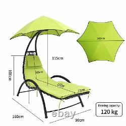 Heavy Duty Large Garden Chaise Lounger Chair Sun Canopy Bed with Thicken Cushion