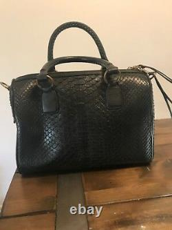Kendall Conrad Narcisa ll Black Matte Snakeskin With Napa Leather Trim