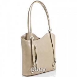 Ladies Womans Designer Handbag Vera Pelle Real Italian Leather Shoulder Backpack