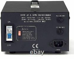 LiteFuze 2000W Voltage Converter Transformer Heavy Duty Step Up/Down(LT-2000UD)