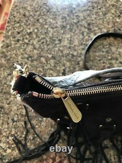 Michael Kors Presley Coffee Suede Fringe MD Convertible Shoulder Bag Handbag NWT