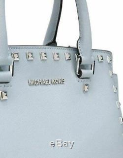 Michael Kors Selma Stud Satchel Dusty Blue Silver Saffiano Leather Bag Pursenwt