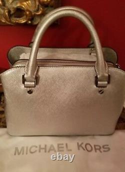 NWT Michael Kors Savannah Satchel Crossbody Silver SOLD OUT Messenger bag