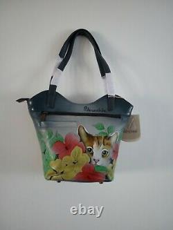 NWT Womens Anuschka Leather Hand Painted Three Kittens Tote Shoulder Handbag