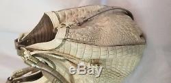 Nwt Brahmin Elisa Limestone Tri Texture Leather Melbourne Croc