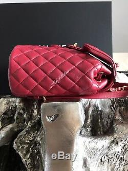 Nwt Chanel Urban Spirit Backpack Red Burgundy Calf Calfskin Gold Travel 2018 18k