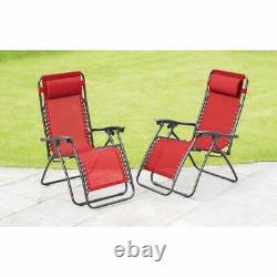Set of 2 Heavy Duty Zero Gravity Chairs Garden Outdoor Patio Sun Loungers-Red