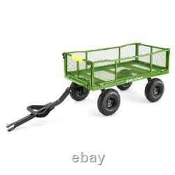Steel Utility Cart 4 cu. Ft. Convertible to Flat Bed Pull Push Handle 800 lb Cap