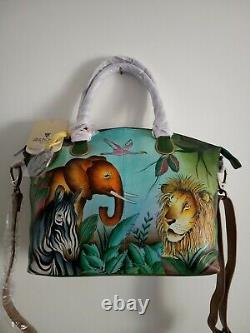 Women's Anuschka Hand Painted African Adventure Convertible Satchel Handbag