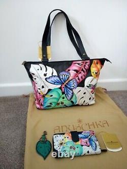 Women's Anuschka Hand Painted Leather LovelyLeaves Tote Shoulder Handbag +Wallet