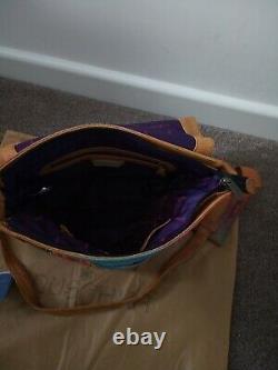 Women's Anuschka Leather Hand Painted Antique Rose Safari Cross Body Handbag