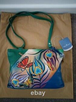 Women's Anuschka Leather Hand Painted Flying Peacock Hobo Shoulder Handbag