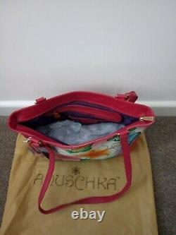 Women's Anuschka Leather Hand Painted Hawaiian Hibiscus Hobo Shoulder Handbag