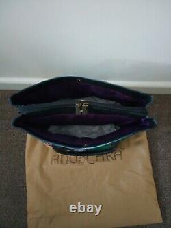 Women's Anuschka Leather Hand Painted Moonlight Capri Tote Cross Body Handbag