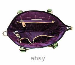 Womens Anuschka Hand Painted Leather Convertible Satchel Cross Body Handbag