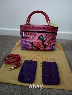 Womens Anuschka Leather Hand Painted Animal Butterfly Cross Body Handbag