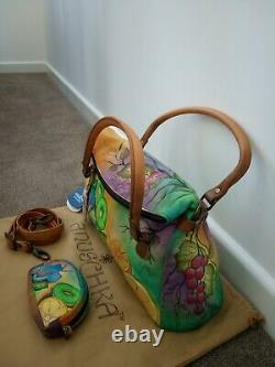 Womens Anuschka Leather Hand Painted Flap Over Convertible Cross Body Handbag
