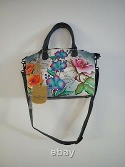 Womens Anuschka Leather Hand Painted Floral Fantasy Satchel Cross Body Handbag