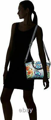 Womens Anuschka Leather Hand Painted Floral Fantasy Tote Cross Body Handbag
