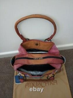 Womens Anuschka Leather Hand Painted Hawaiian Hibiscus Satchel Shoulder Handbag