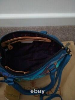 Womens Anuschka Leather Hand Painted Tropical Dream Tote Cross Body Handbag